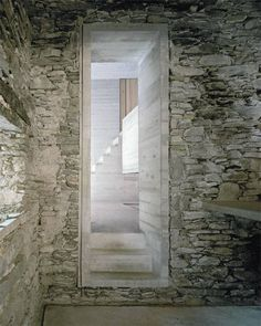 A 200 year old existing stone house in Linescio, Switzerland was renovated by Buchner Bründler Architekten with a distinctive, minimalis. Interior Architecture, Interior And Exterior, Old Stone Houses, Beton Design, Concrete Design, House Design, Building, Interiors, Rustic Homes