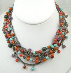 Miriam Haskell Glass Beads 5-Strand Necklace - Garden Party Collection Vintage Jewelry