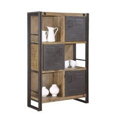 Would be great for under the TV in the family room - IF low and long. | Warehouse Bookshelf with Locker Doors