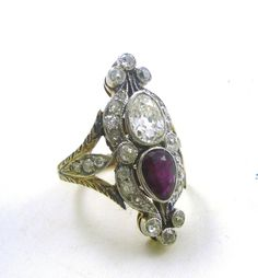 Edwardian Solid 14-Karat Yellow Gold Pear Shape Diamond Ruby Statement Ring  #Unbranded #Cocktail