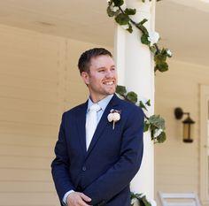 #groomsfirstlook #groom #porchwedding #ceremony #navysuit