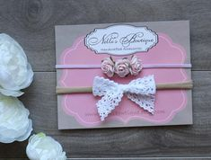 Items similar to Set of Two Baby Headbands, Pink Rose, White Bow, Newborn Headband on Etsy Rose Headband, Second Baby, Newborn Headbands, Pink Roses, Etsy Seller, Preemies, Handmade Gifts, Bows, Card Sizes