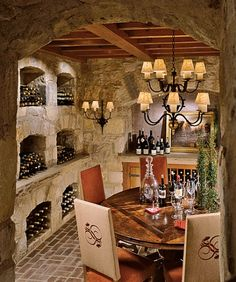 stone wine cellar. I dream of doing this in my storm selter off the basement!