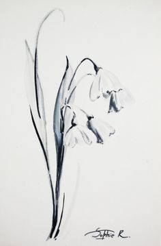 First Flowers  Original Drawing Black and White Art by CanotStop, $23.00