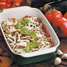 Need Italian side dishes? Get Italian side dish recipes for a great addition to your dinner or meal. Taste of Home has healthy Italian side dishes and Italian side dish recipes to complement your dinner. Baked Eggplant, Eggplant Parmesan, Healthy Eggplant, Eggplant Recipes, Italian Side Dishes, Main Dishes, Italian Spices, Healthy Work Snacks, Healthy Recipes