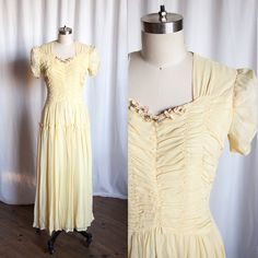 delicate yellow chiffon 1940s evening dress || vintage 40s evening gown by TwoOldBeans