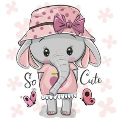 Cute Animals Images, Cute Images, Cute Cartoon Animals, Cartoon Elephant, Cute Elephant, Bow Vector, Vector Free, Elephant Wallpaper, Sublimation Mugs