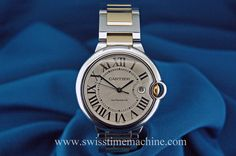 #Cartier #BallonBleu #steel and #gold with roman numerals! for more details check our web #swisstimemachine