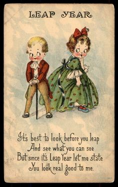 Leap Year 1900 real good to me couple romance postcard