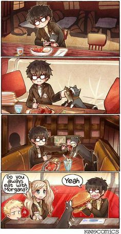 I'd like to imagine they would fight over the last piece of something XD NO MORGANA I WANT THAT LAST COOKIE CRUMB