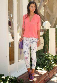 Summer fashion ,white floral pants,purple shoes