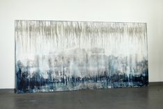CHRISTIAN HETZEL: blue grey white,  2015 - 200 x 100 cm - mixed media on canvas,