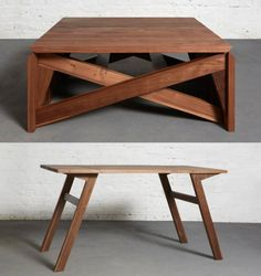 Collapsible Furniture; Transforming and Converting Towards Modern Interior Trend: Classic Wooden Folding Coffee Table With Cross Legs At Tr...