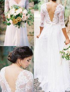 [SEK 1,386] A-linjeformat V-Ringning Golvlång Bröllopsklänningar