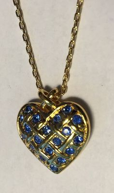 Vintage Avon 1995 Heart Birthstone Necklace September Sapphire Blue Rhinestone