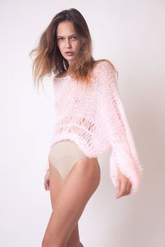 Pink cropped loose sweater bat wing jumper soft winter by beWoolen