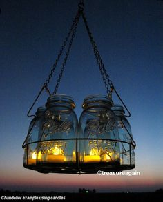 Antique Lights Mason Jar Chandelier 6 Blue QUART by treasureagain. I knew I saved the basket from moms old canner for a reason!