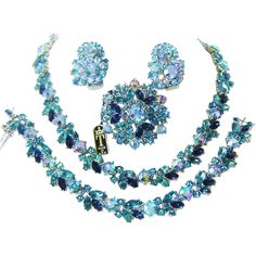 Vintage Trifari Blue & AB Rhinestone Necklace Bracelet Brooch Earrings AD Book Set  The Vintage Carousel