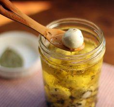 Marinated bocconcini, small balls of mozzarella in herbs.