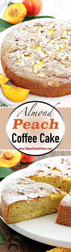 Almond Peach Coffee Cake Recipe is light, fluffy, airy, moist, and loaded with peaches. The aroma of almond extract is phenomenal! Winter Desserts, Fun Desserts, Delicious Desserts, Yummy Food, Yummy Eats, Best Dessert Recipes, Chef Recipes, Yummy Recipes, Amazing Recipes