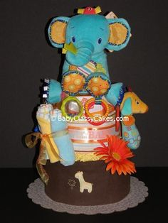 Elephant Fun Diaper Cake by babyclassycakes on Etsy, $79.00