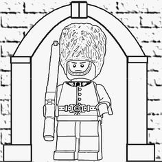 Splendid simple drawing of LEGO Soldier Minifigures series 5 ROYAL GUARD coloring pages free 2 print
