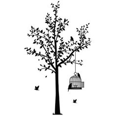 Tree and Birdcage Wall Sticker (£49) ❤ liked on Polyvore