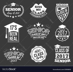 Collection of logo badges and cute funny labels for graduating senior class in white isolated against black background, design for the graduation party for university or college students