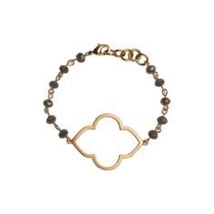 Gold Quatrefoil Cutout on Grey Beaded Bracelet - Large Gold Quatrefoil Cutout Earrings - Beaucoup Designs Silhouette Collection features time proven shapes combined with beads, pearls, chains and leather. #festivalstyle #ss2016 #goldjewelry #jewelry