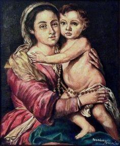 Virgen del Rosario. Murillo. Óleo sobre lienzo.