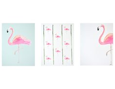 How better to correspond during the dog days of summer than with Carde Blanche watercolor art cards, graced with cheery flamingos, palm trees and pineapples?