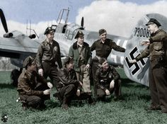 A group of American pilots of the 379th Fighter Squadron U.S. Air Force captured German Messerschmitt night fighter BF.110 G-4/R3. Lt. Robert Hagen (Robert S. Hagen) tells his comrades about the last air battle. Germany, May 1945.