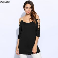 FANALA S Top Women T-shirt Cold Shoulder 3/4 Batwing Sleeve Spaghetti Strap Solid Women Pullover Long Tops Tees Female
