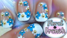 How to do floral French manicure nail art DIY tutorial step by step instructions, How to, how to do, diy instructions, crafts, do it yourself, diy website, art project ideas