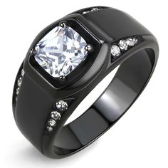 MEN/'S PRINCESS CUT SIMULATED DIAMOND SILVER STAINLESS STEEL RING SIZE 8-14