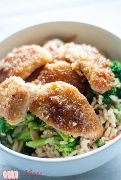 Coconut Chicken Fried Rice | I put this delish Coconut Chicken over fried rice, but it would also go great with sticky white rice (GASP!) or brown rice. Ok, I know… @3BoysUnprocess