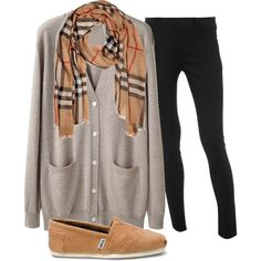 Comfy Winter Outfit/ I think I'd switch out the TOMS for some camel colored pointed flats to dress it up a bit.