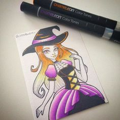 Stunning witch created by @_littlepauline_ this is also their first time using their Chameleon Pens! #chameleonpens @chameleonpens #draw #drawing #drawingoftheday  #firsttry #witch #inktober #inktober2016 #orange #purple #art #artoftheday #instaart #instapic