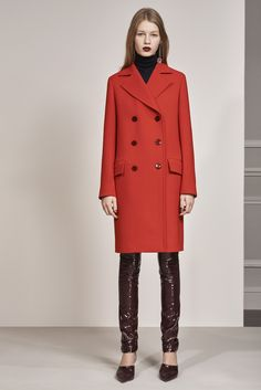 Christian Dior | Pre-Fall 2016 | 28 Red coat, black turtleneck and brown leather trousers