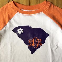 State | College | Mascot | Logo | Monogram | Clemson | Football | Paw | Shirt | Onesie | Vinyl by MagnoliaMarsh on Etsy https://www.etsy.com/listing/458315352/state-college-mascot-logo-monogram