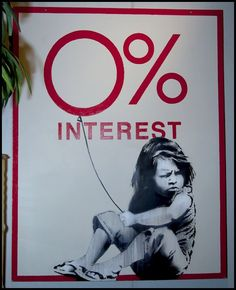 Banksy 0% Interest. Street art 000