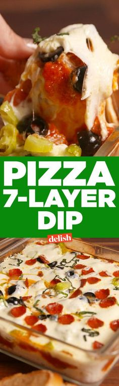 Pizza Seven Layer Dip Delish Appetizer Dips, Yummy Appetizers, Appetizer Recipes, Pizza Appetizers, Dip Recipes, Pizza Recipes, Snack Recipes, Seven Layer Dip, Seven Layer Salad