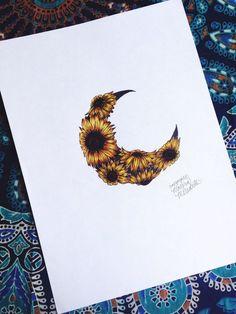 Sunflower Moon Print by MorgansCanvas on Etsy – Body Art Neue Tattoos, Body Art Tattoos, Tattoo Drawings, Small Tattoos, Tattoo Art, Circle Tattoos, Tattoo Quotes, Dream Tattoos, Wolf Tattoos