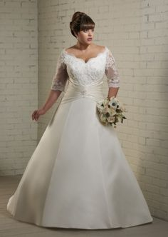 Discount 2014 Royal Satin 3/4 Sleeves Plus Size Traditional Wedding Ball Gown Online