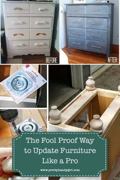 I have some tips to make your furniture finishes look like they were professionally done. Help you pick the best paint, primer and tools for the job. And finally a few quick and easy ways to update your furniture in minutes! If you've been craving updated furniture, but aren't sure where to start, this is your chance. Furniture Update, Diy Furniture Projects, Paint Furniture, Furniture Making, Furniture Makeover, Furniture Refinishing, Repurposed Furniture, Diy Design, Diy Projects Plans