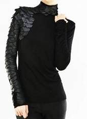 "Couture Black Leather ""The Raven"" Knit Long Sleeve Smock Tunic/Top"