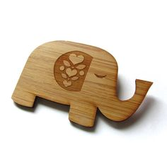 Happy Elephant Bamboo Wood Brooch Wood Pin Laser Cut by Cabin,