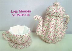 Quilted tea cup and tea pot