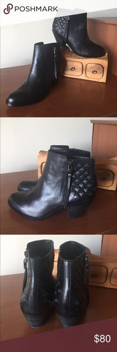 "Sam Edelman Lucille Booties Sam Edelman Lucille Booties.                                      Metallic studs glimmer on the strategically distressed heel of an earthy leather ankle bootie. 2 3/4"" heel (size 8.5). Side zip closure. Leather upper/synthetic lining and sole. EUC. Sam Edelman Shoes Ankle Boots & Booties"