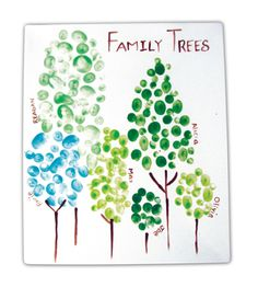 Family-tree fingerprints, every member of the family makes a tree. Great way to make something with your small children and  include their baby-brother/sister.